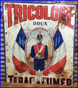 Rare Antique Early 1900s Vtg TRICOLORE SWEET TOBACCO French Canadian Tin Sign