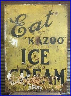 Rare Antique Early 1920s EAT KAZOO ICE CREAM Advertising Sign Kalamazoo Michigan