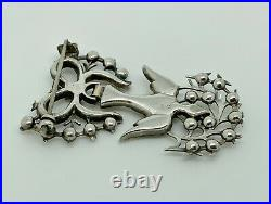 Rare Antique Early 19thC French Sterling Silver Paste St Esprit Dove Brooch