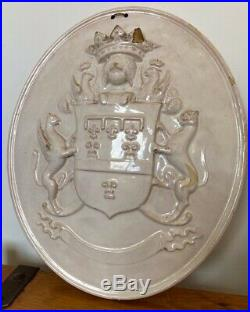 Rare Antique Early 19th C Armorial Heraldic Glazed Stoneware Shield Wall Plaque