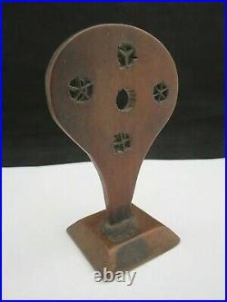 Rare Antique Early 19th Century Wooden Treen Paddle / Bat Shaped Straw Splitter