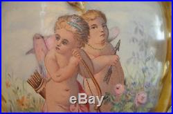 Rare Antique Early 19th Unique Hand Painted Zsolnay Vase Cupid And Angels