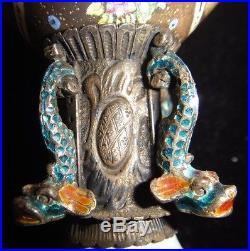 Rare Antique Early 19th Vienna Austrian Hermann Boehm Enamel On Silver Urn Vase