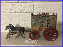 Rare Antique Early American Horse Drawn Harrison Circus Wagon Tin Litho