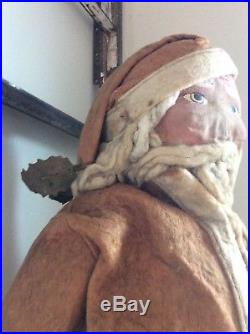 Rare Antique Early Large 25 Tall Santa Claus All Original W / Stand Collectible