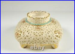 Rare Antique Early Royal Worcester Grainger China Works Pierced Inkwell