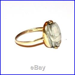 Rare Antique Early Victorian 22ct Gold Antique Scarab Swivel Ring. Hieroglyphs