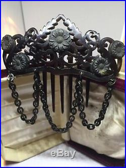 Rare Antique Early Victorian Large Faux Tortoise Shell Carved Mourning Hair Comb
