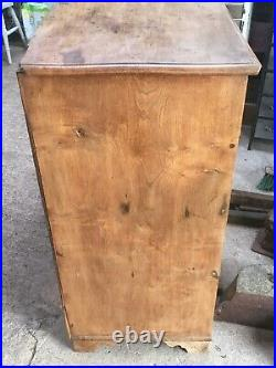 Rare Antique Early Victorian Period Elm 2 Over 3 Chest Of Drawers