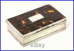Rare Antique Georgian early 18th Century Silver and tortoiseshell Snuff Box