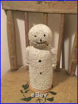 Rare Antique German Early Moon Face Snowman Candy Container Ornament Glass Beads