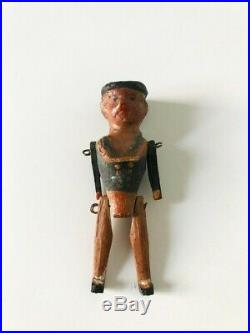 Rare Antique German Grodnertal Wooden Tiny 2 Sailor Peg Doll early 1900