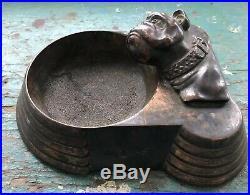 Rare Antique & Ornate Early 1900s Bronze & Copper BULLDOG Ashtray Dog Coin Tray