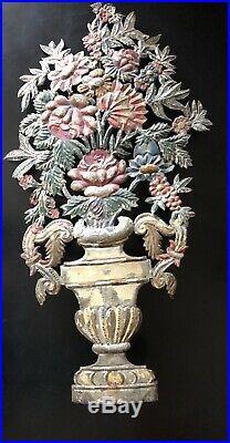 Rare Antique Pair of Tole Peinte Garniture Bouquet Urns Early 1800s