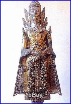 Rare Antique Thai Bronze Gold Gilded Rattanakosin Buddha, ca 18C- early 19C