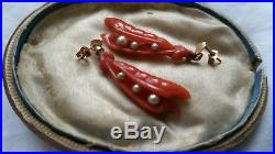 Rare! Antique Victorian 9ct Gold Earrings Very Early Plastic Coral Seed Pearls