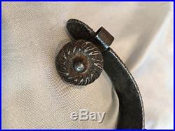 Rare Antique Vintage Collectible Cowboy Silver Inlay Early Spur