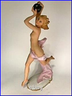 Rare Antique Volkstedt German Porcelain Nude Figurine Early Century Art Deco