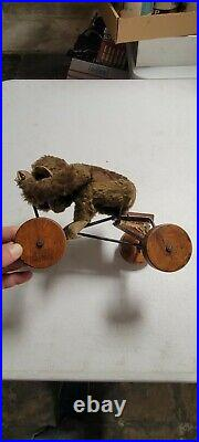 Rare Antique early Steiff Record Peter Pull Toy Jocko Monkey on Wheels Mohair