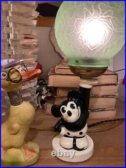 Rare Art Deco 1930 Mickey mouse antique globe lamp early rosenthal style Germany