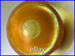 Rare Art Deco Early 1920s Aurene Sunset Gold/Orange Iridescent Vase by Durand