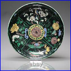 Rare Ca 1700 Early Kangxi Chinese Porcelain Black-ground Dish Birds Flower
