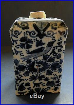 Rare Dutch Delft Tea Caddy With Royal Coat Of Arms Early 19th Century