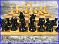 Rare EARLY Antique vtg French Pre WWII Chess Pieces set Box Hand Carved Lardy