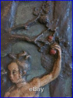 Rare Early 17thC Antique Adam and Eve Cartapesta Panel Carved Wood Panel