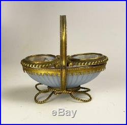 Rare Early 1800s French Opaline and Eglomise Grand Tour Souvenir, Small Basket