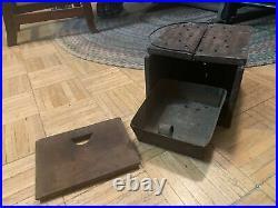 Rare Early 18th Century All Wood Foot Warmer W Unusual Side Door Opening & Pan