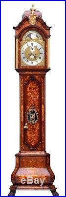 Rare Early 18th Century Dutch Marquetry Alarm Moon Phase 2 Bells Longcase Clock