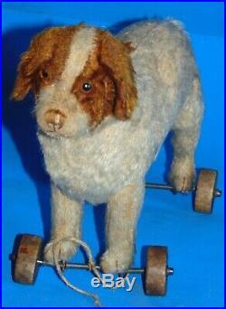 Rare Early 1900 marvelous Steiff pult toy St bernard dog on wheels 11
