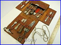 Rare Early 1900's Antique Tool Kit In Leather Pouch