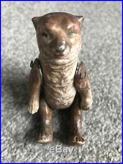Rare Early 1900's HERTWIG Jointed Bisque Brown Bear On All 4s Or Sits Germany 3