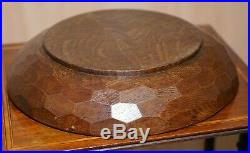 Rare Early 1960's Robert Mouseman Thompson Of Kilburn English Oak Fruit Bowl