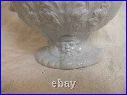Rare Early 19 C Eng. Ceramic Pitcher, Gargoyle Faces & Serpent Handle Pearlware