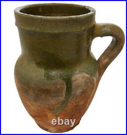 Rare Early 19th C American Antique 7 Redware Handled Cer Pitcher Dipped Grn Glz