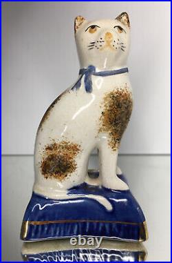 Rare Early 19th C Antique Spongeware Staffordshire Calico Cat Creamware Figurine