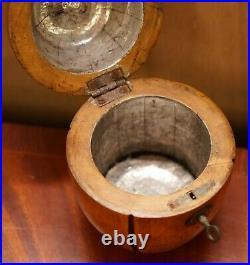 Rare Early 19th Century Circa 1820 Treen Hnd Carved Apple Tea Caddy Original Key