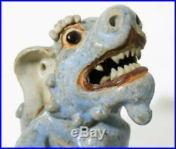 Rare Early 20th C Antique Shiwan Chinese Stoneware Ceramic Blue Glazed Foo Dog