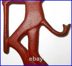 Rare Early 20th C John Wright Cast Iron Red Enml Pntd Devil Chimney Damper Pull