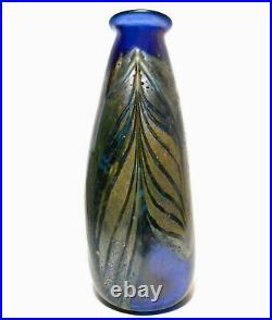 Rare Early 20th C Vint Art Nouveau Hand Blown Peacock Des Translucent Glass Vase