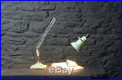 Rare Early 3 Step Herbert Terry 1227 Anglepoise Lamp Original Green & Chrome