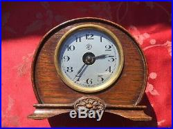 Rare Early ATO Electric Mantle Clock Oak Case Small Size For Restoration