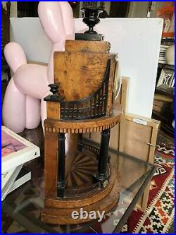Rare Early Antique Francis I Era Austrian Portico Clock with Burled Marquetry
