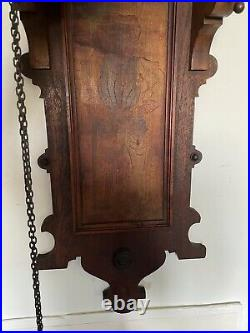 Rare Early Antique German 2 Weight Black Forest Wall Clock
