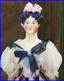Rare Early Antique German Papier-mache doll, so-called Desiree Clary, c. 1831