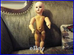 Rare Early Antique Jumeau Doll 5, Closed Mouth, Straight Wrists, 15, Cork Pate