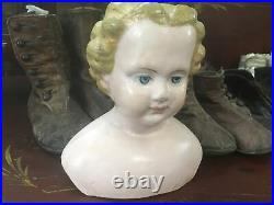 Rare Early Antique Paper Mache M & S Superior #2015 Shoulder Head Doll Or. Label